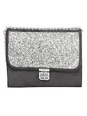 Black And Silver Leatherette Shimmer Sling Bag - By