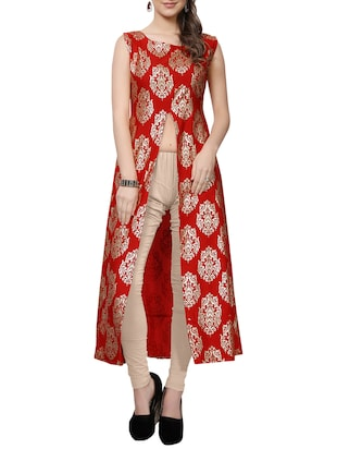red polyester high slit kurta -  online shopping for kurtas