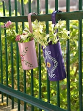 Blue And Pink Hanging Planters (Set Of 2) - By