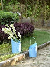 Blue Bucket Hanging Planter (Set Of 2) - By