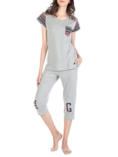 grey printed cotton capri set -  online shopping for nightwear sets