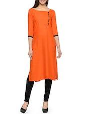 Orange Rayon Straight Printed Kurta - By