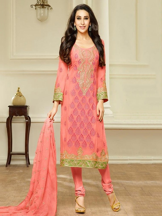 84bbf73b2012 Buy Peach Color Salwar Suits Dress Material for Women from Binny for ...