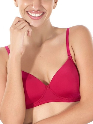 pink polyester t-shirt bra -  online shopping for bra