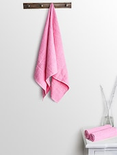 Pink Cotton Plain Set  Of Bath Towels And Hand Towels - By