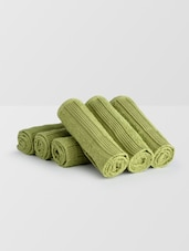 Set Of 6 Green Cotton Hand Towels - By