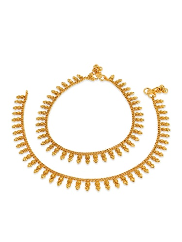 gold metal anklets and payal - 12794591 - Standard Image - 1