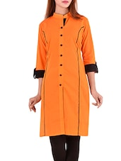 orange cotton straight kurta -  online shopping for kurtas