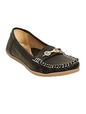 Black Faux Leather Slip On Loafers - By - 12804909