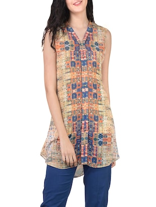 beige georgette straight kurti -  online shopping for kurtis