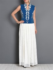White And Blue Cotton Embroidered Short Jacket - By