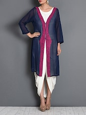 Blue Cotton Embroidered Long Jacket - By - 1281338