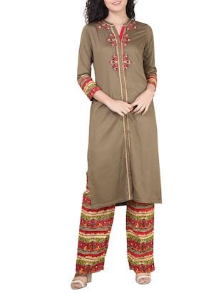 beige rayon kurta with multicolour printed palazzo set -  online shopping for Sets
