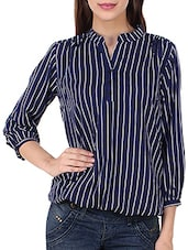 navy blue striped crepe regular top -  online shopping for Tops