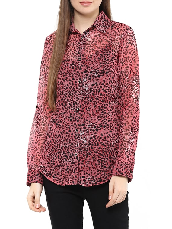 1868ad74339e Buy Pink Animal Printed Georgette Shirt for Women from Mayra for ₹436 at  56% off
