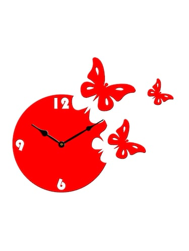 Sehaz Artworks Moon Butterfly Red_Black Wall Clocks - 12820798 - Standard Image - 1