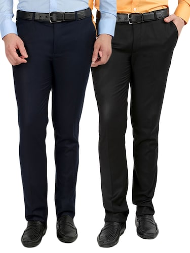 black and blue set of 2 flat front trousers formal trouser - 12823769 - Standard Image - 1