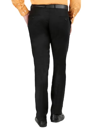 black  set of 2 polyester flat front trousers formal trouser - 12823770 - Standard Image - 4