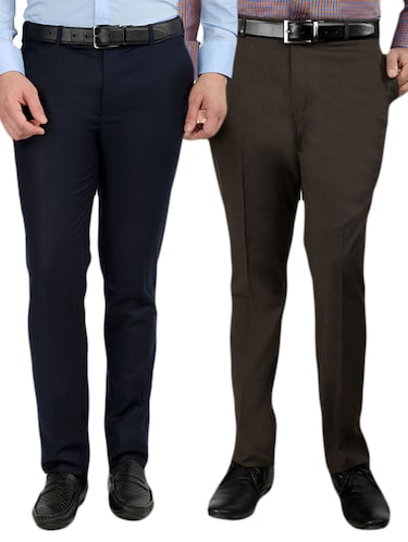 set of 2 polyester flat front trousers formal trouser - 12823772 - Standard Image - 1
