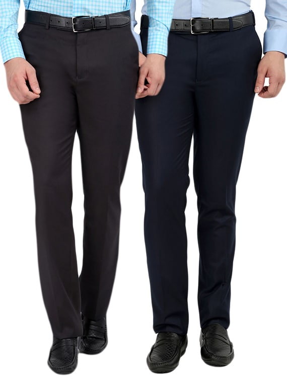0668598c78e Buy Set Of 2 Polyester Flat Front Trousers Formal Trouser by Inspire -  Online shopping for Formal Trousers in India
