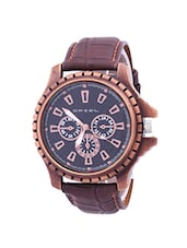 Brown Leather Strap Mens Watch -  online shopping for Analog Watches