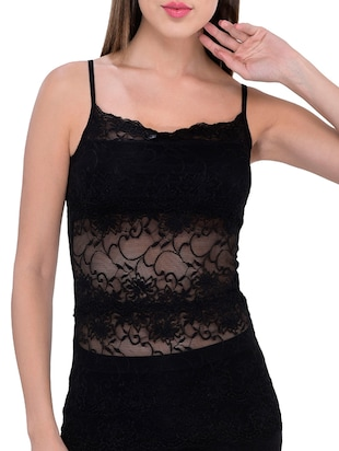 black nylon lacy camisole -  online shopping for Camisoles