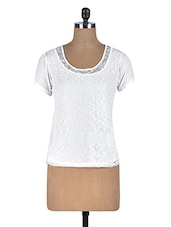 White Viscose Top With Lace Overlay - By