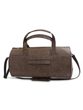 Textured Brown Leatherette Duffle Bag - By