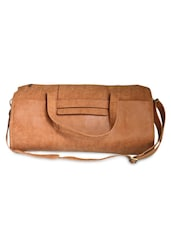 Textured Tan Leatherette Duffle Bag - By - 1283494