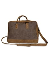 Textured Brown Leatherette Laptop Bag - By