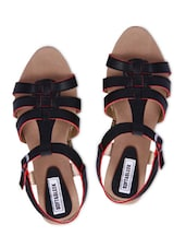Black Faux Leather Strap Flat Sandals - By