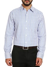 white cotton striped formal shirt -  online shopping for formal shirts