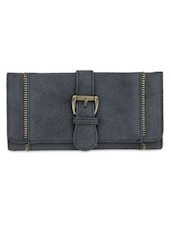Solid Navy Blue Leatherette Clutch - By