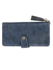 Blue Leatherette Sling Bag - By