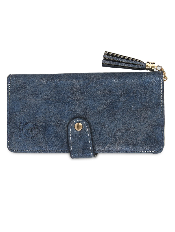 Blue Leatherette Sling Bag - By