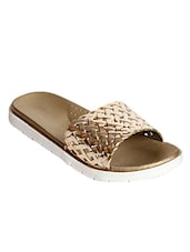 gold leatherette flat forms sandals -  online shopping for sandals
