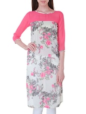 White And Pink Georgette Floral Print Kurti - By