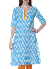 Sky Blue Chevron Printed Cotton Kurta - By