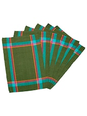 Dhrohar Hand Woven Cotton Table Mat - Pack Of 6 Mats - Green - By