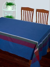 Dhrohar Hand Woven Cotton Table Cover For 6 Seater Table - Earthy Blue - By