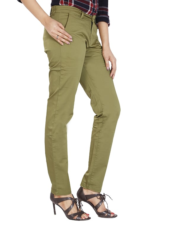 Buy Green Cotton Flat Front Trouser by Airwalk - Online shopping for  Trousers in India  b26d310d7401