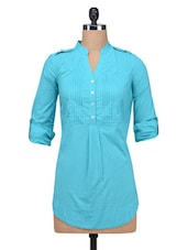 Blue Cotton Plain With Pin Tuck Tunic - By