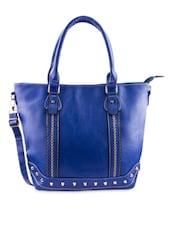 Royal Blue Embellished Faux Leather Handbag - By