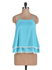 Sky Blue Poly Crepe Tiered Top - By