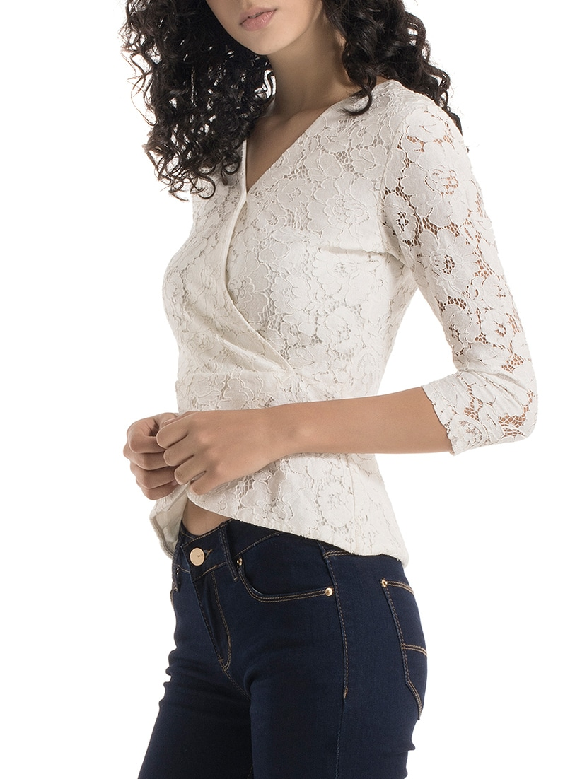 3eba1ed45f60ca Buy White Lace Wrap Top for Women from Kazo for ₹1324 at 47% off | 2019  Limeroad.com