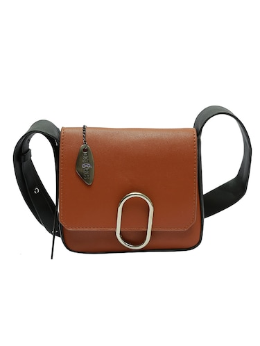 brown leatherette sling bag - 12883069 - Standard Image - 1
