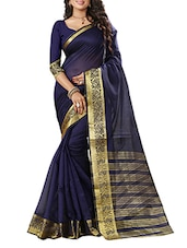 blue poly silk zari bordered saree -  online shopping for Sarees