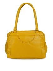 Solid Mustard Leatherette Handbag - By