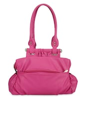 Solid Pink Leatherette Handbag - By