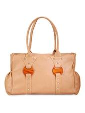 Solid Beige Leatherette Handbag - By